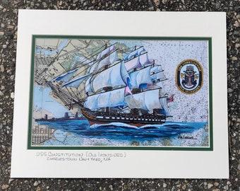 USS Constitution nautical chart art print Old Ironsides Charlestown Navy Yard Boston Harbor wardroom sailor veteran petty officer gift