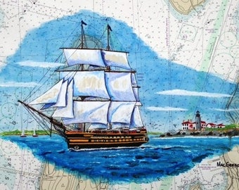 SSV Oliver Hazard Perry sailing by the Beavertail Lighthouse  watercolor acrylic Art Print