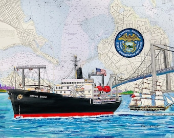 Suny Maritime College  Training ship Empire State & USS St. Mary's nautical chart art print  Privateers NY Maritime College Graduate Gift