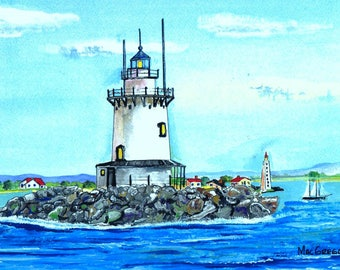 Saybrook Breakwater Lighthouse Circa 1972 Art Print (Breakwater Light or Outer Light) Near Old Saybrook, CT