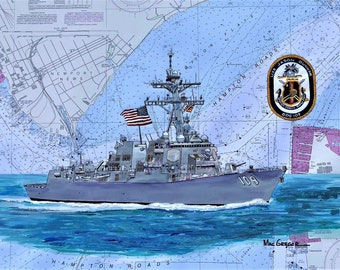 USS Jason Dunham DDG-109  nautical chart art print map poster Navy destroyer ship  veteran wardroom change of command gift