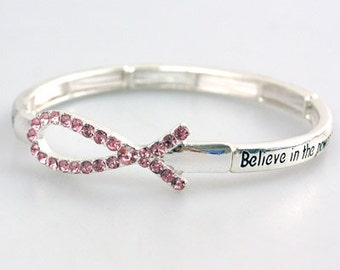 Sale  Pink Ribbon Bracelet, Stretch, Breast Cancer Awareness Jewelry, Breast Cancer Support, October, Pink Ribbon Jewelry, Stamped Message,
