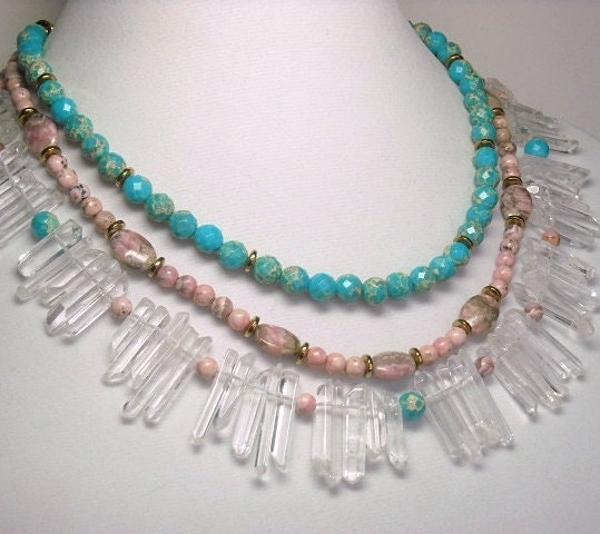 Triple,Strand,Gemstone,Necklace,,Quartz,Points,,Rhodochrosite,,Aqua,Impression,Jasper,,Tribal,,Island,Princess.,Statement,Jewelry,,Handmade,Jewelry,Necklace,gemstone_necklace,quartz_points,rhodochrosite,impression_jasper,triple_strand,statement_jewelry,tropical_beach_sea,aqua_pink,tribal_necklace,one_of_a_kind_ooak,handmade_jewelry,multi_layer_necklace,healing_chakra,10mm faceted impression j