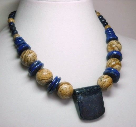 Lapis,Lazuli,Gemstone,Amulet,Necklace,Lapis Lazuli Gemstone Necklace, Lapis Lazuli Chunky Amulet Necklace, Artisan Lapis Lazuli Necklace Dark Royal Blue Lapis, Natural Chakra Stone Necklace, Chunky Statement Necklace, Lapis Collar, Lapis Lazuli Choker