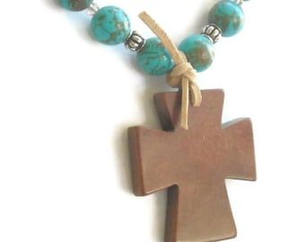 Rustic Cross Necklace - Turquoise Jewelry - Country Western - Southwest - Cowgirl - Turquoise Necklace - Cross Jewelry - Gemstone Necklace