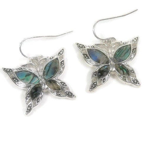 Butterfly,Earrings,-,Abalone,Dangle,Insect,Jewelry,Symbolic,Bug,Dragonfly,butterfly_earrings,butterfly_jewelry,butterfly_dangle,dangle_earrings,symbolic_butterfly,insect_jewelry,bug_jewelry,nature,abalone_butterfly,summer_garden,dragonfly,butterfly_charm,boho_earrings,butterfly charms,abalone shell,silver plate