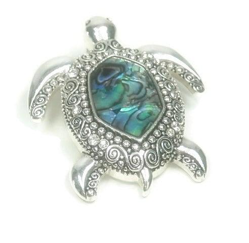 Abalone,Turtle,Pendant, Abalone Turtle Magnetic Pendant, Clip On Interchangeable Tortoise Pendant, Beach, Symbolic Animals, Sea Life, Removable Pendant, Spirit Animal, Jewelry Supplies