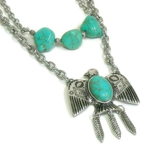 Sale|,Turquoise,Necklace,,Layered,Stone,Double,Strand,,Boho,,Indie,,Hippie,,Southwest,,Tribal,,Gift,for,Her,,Eagle,,Bird,Jewelry,Necklace,turquoise_neckace,Eagle_Necklace,Double_Strand,layered_necklace,symbolic_eagle,turquoise_jewelry,turquoise_gemstone,bird_jewelry,southwest_jewelry,boho_bohemian,eagle_jewelry,multi_strand,lobster clasp,chain,turquoise magnesite nuggets,ea