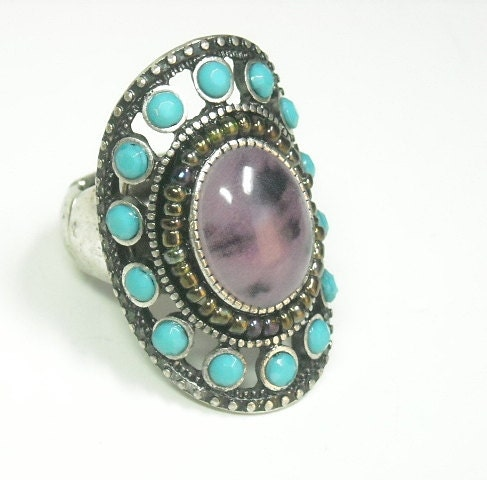 Sale|,Turquoise,Ring,-,Long,Stretch,with,Purple,Center,Stone,Adjustable,Statement,Boho,Jewel,Jewelry,Turquoise_Ring,Long_ring,stretch_ring,statement_ring,turquoise_jewelry,Antique_Silver,boho_bohemian,adjustable_ring,purple_stone,southwest,rocker_hippie,chunky_ring,black_friday_cyber_m,silver plate,magnesite cabochons,oval purple gemstone,se