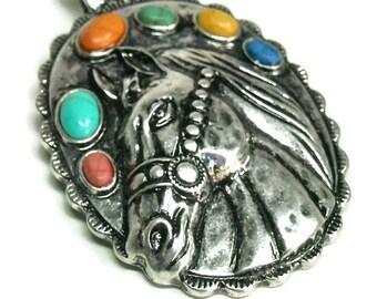 Sale  Horse Pendant, Clip On Magnetic Pendant, Multi Color Stones , Bohemian, Removable, Animal Jewelry, Horse Jewelry, Gemstone Pendant, We