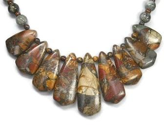 Picasso Jasper Necklace - Collar Bib Necklace - Picasso Jasper Jewelry - Gemstone Jewelry - Statement Jewelry - Tribal - Graduated Focal