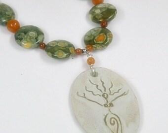 Ocean Jasper Necklace, Ocean Jasper Jewelry, Uprising Goddess Pendant, Gemstone Jewelry, Green, Orange, Stoneware Pendant, Boho, Earth