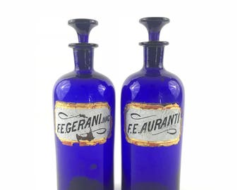 Antique Pair of 1800s English Cobalt Blue Apothecary Bottles