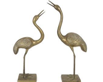 Vintage XL 3' Tall Pair of Brass Cranes / Herons