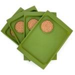Vintage 1970s Avocado Green Plastic Snack Trays w/ Cork Coaster