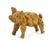 vintage handmade rope pig figurine