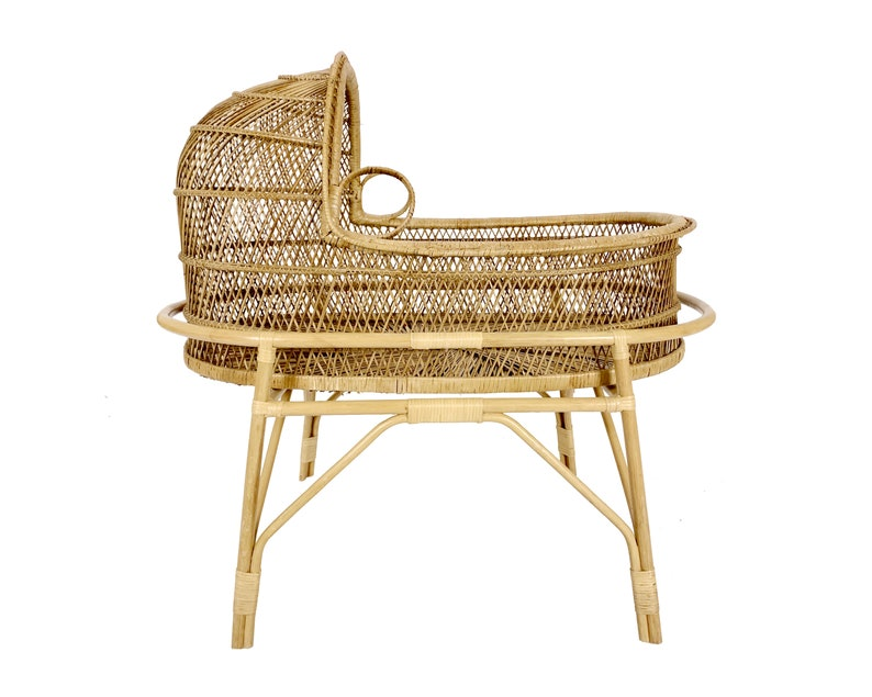 Vintage 1970s Boho Chic Wicker  Rattan Bassinet image 0