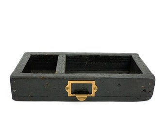 Vintage 1940s Small Industrial Wood Divided Box Tray w/ Brass Tag Holder