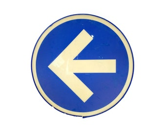 """Vintage 1970s 17"""" Blue + White Pointing Arrow Channel Sign"""