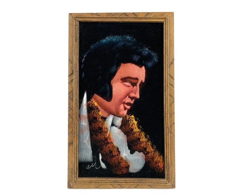 Vintage Elvis Presley on Velvet Painting Hand Carved Frame image 0