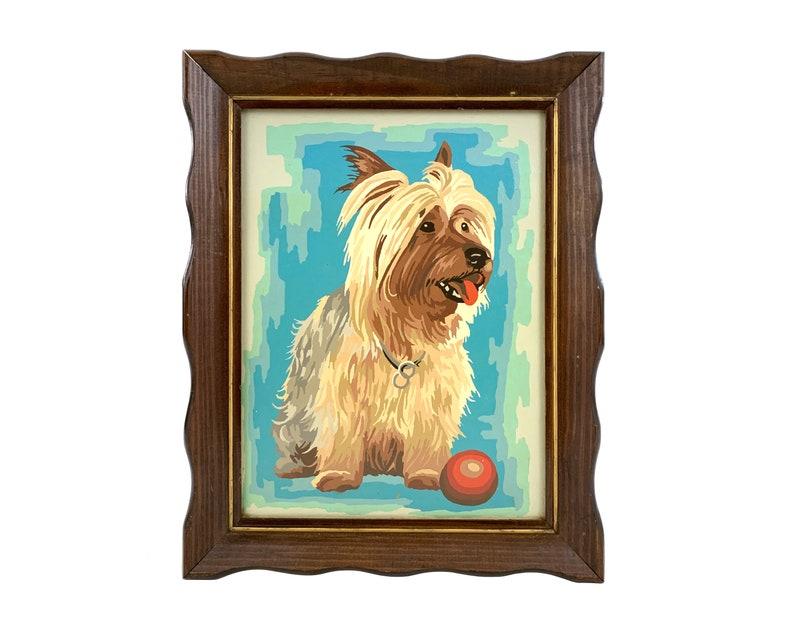Vintage 1970s Yorkie / Yorkshire Terrier Dog Portrait / Paint image 0