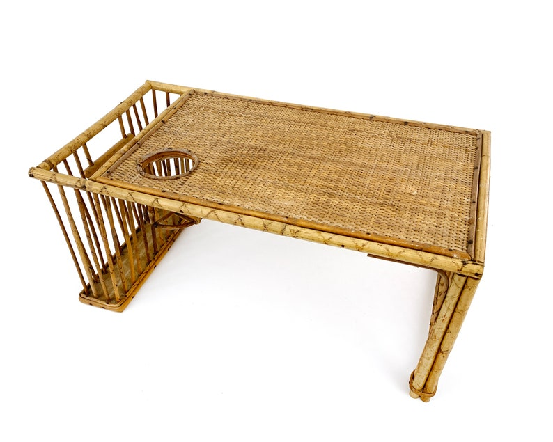 Vintage 1960s Boho Chic Rattan / Bamboo Bed Serving Tray / image 0