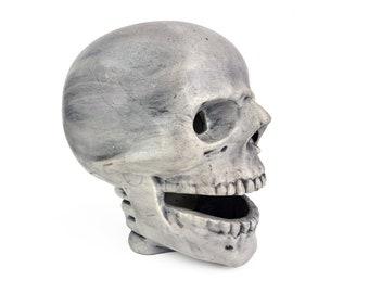 Vintage 1970s Ceramic Life-size Skull Light