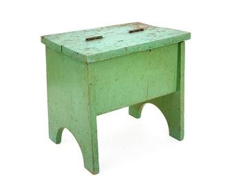 Vintage 1930s Green Shoe Shine Stool Bench Storage Box