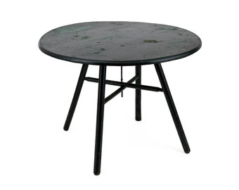 Vintage 1930s Small Handmade Black Round Collapsible Wood Table