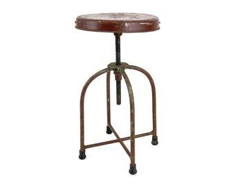 Vintage 1930s Brown Industrial Adjustable Machinist's Metal Stool