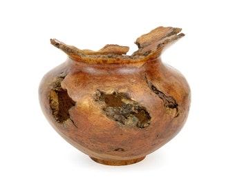 Vintage Handcrafted Cherry Burl Wood Vase Signed Robert S. Wood