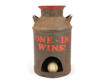 Vintage 1970s ONE-IN WINS! Milk Can Carnival Toss Game