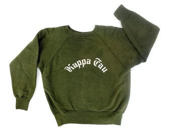 Vintage 1950s Dark Green Kappa Tau Fraternity College Crewneck Champion Sweatshirt - Size Large