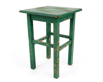 Vintage 1950s Distressed Green Handmade Wood Table / Plant Stand