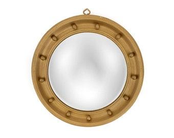 """Vintage 18"""" Girandole Wood Round Federalist Convex Mirror"""