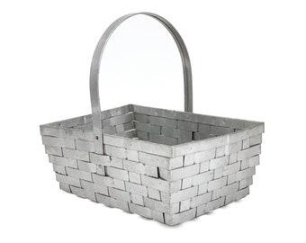 Vintage 1970s Handmade Aluminum Splint Woven Carrying Basket
