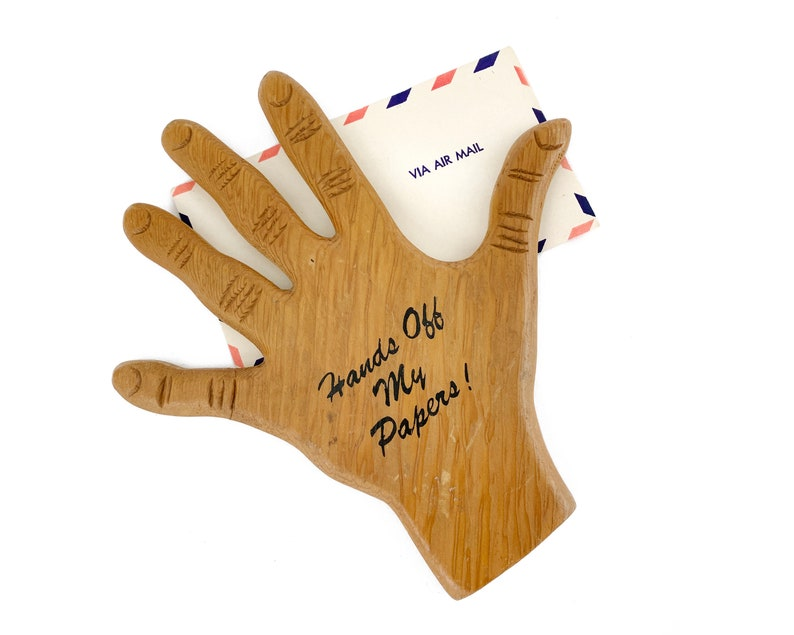 Vintage 1970s Hands Off My Papers Hand Shaped image 0