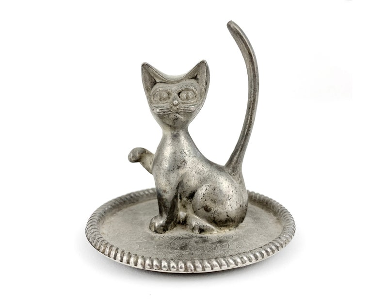 Vintage Silver Cat Ring Dish Jewelry Holder image 0