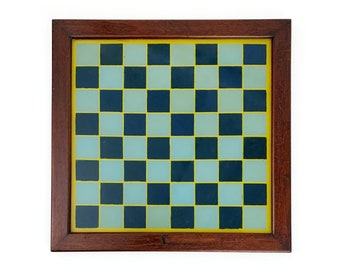 Antique 1910s Reverse Painted Glass Blue & Yellow Framed Chess Board