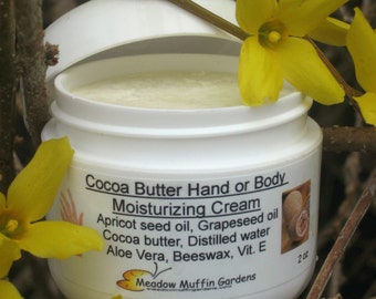 Cocoa Butter Hand, Face, Body Moisturizing Cream, Jar, Dry Skin, Chapped Hands, Barrier Skin Protection, Child Safe