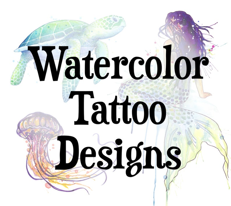 Watercolor Tattoo Art : image release  art print image 0