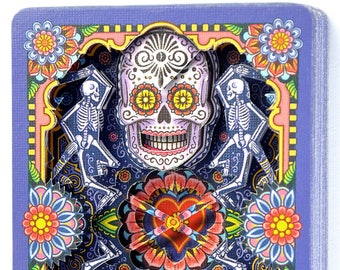 """Lonely Heart """"Dia De Los Muertos by Edgy Brothers"""" / altered playing card decks"""