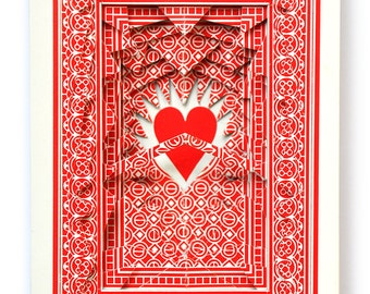 Lonely Heart No.201556 in red / altered playing card deck / paper sculpture