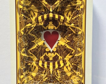 Lonely Heart No.201565 / altered playing card deck / paper sculpture