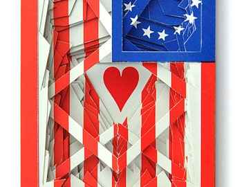 Lonely Heart No.201538 U.S. colonial flag / altered playing card deck / paper sculpture