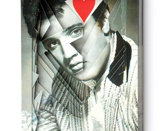 Lonely Heart No.2015EP6 Elvis Presley / altered playing card deck / paper sculpture