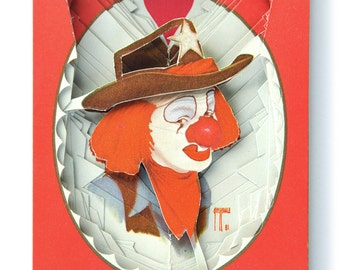 Lonely Heart No.201540 Red Clown / altered playing card deck / paper sculpture