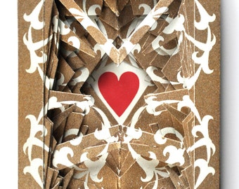 Lonely Heart No.1005 Vintage Gold / altered playing card deck / paper sculpture