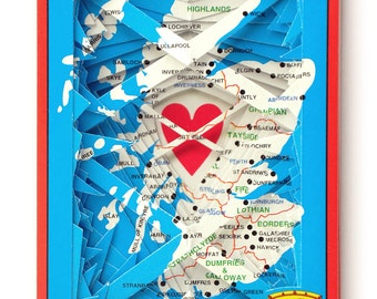 Lonely Heart No.201555 Scotland / altered playing card deck / paper sculpture