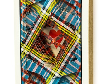 Lonely Heart No.0412 Vintage Tartan / altered playing card deck / paper sculpture
